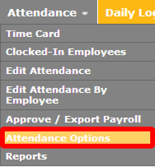 """Navigate to the """"Attendance Options"""" page."""
