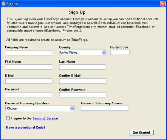 Create a TimeForge Account