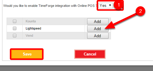 Turn on the online POS integration