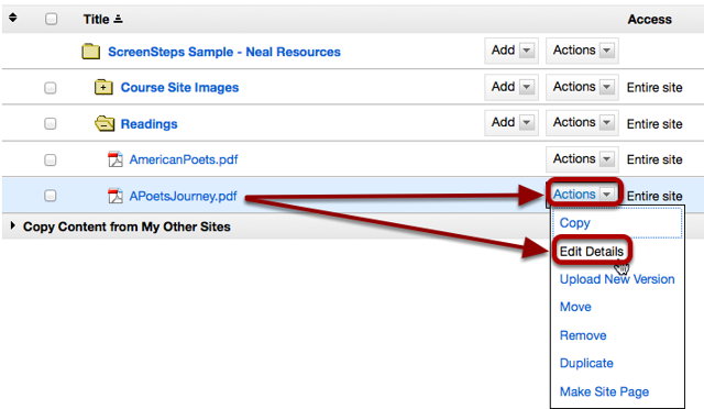 Locate the folder or file you want to link to in Resources. Click Actions / Edit Details