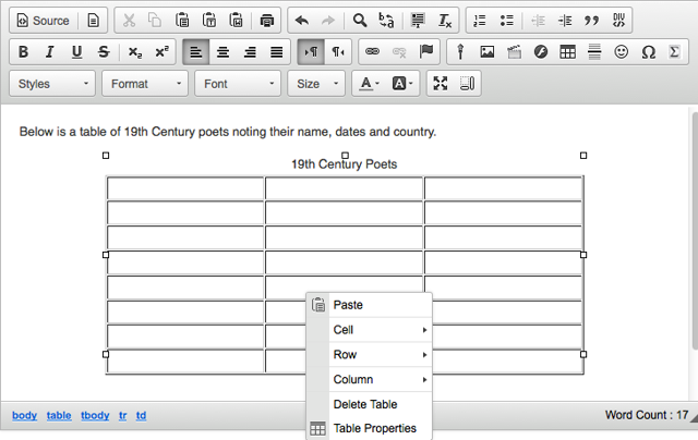 To edit the table properties, right-click (CTRL-click - MAC) on the table.