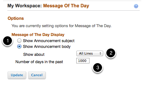 3A - Message of the day Options: