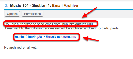 Locate the email address for sending messages to the site's Email Archive.