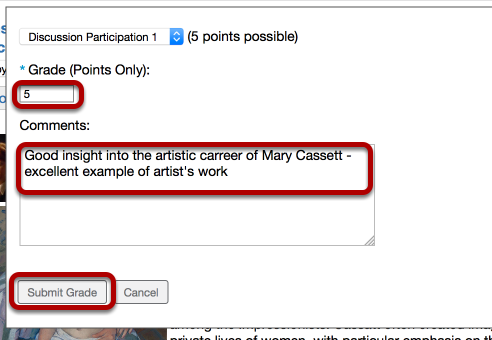 Enter a grade, comment, then click Submit Grade