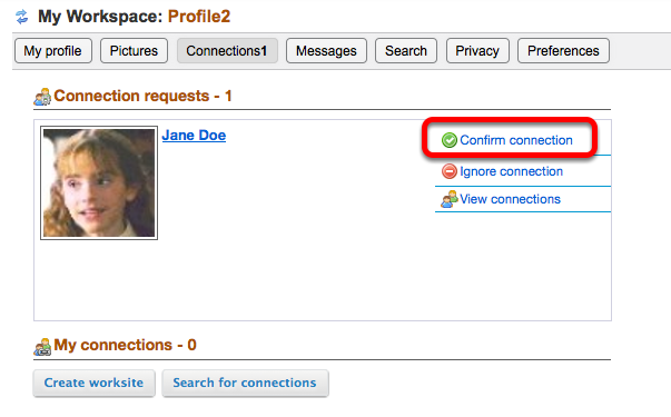 Example of user approving a Connection request: