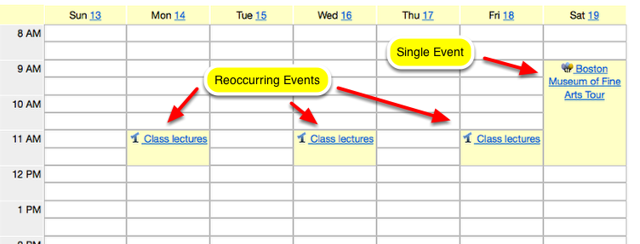 Example of a course Calendar: