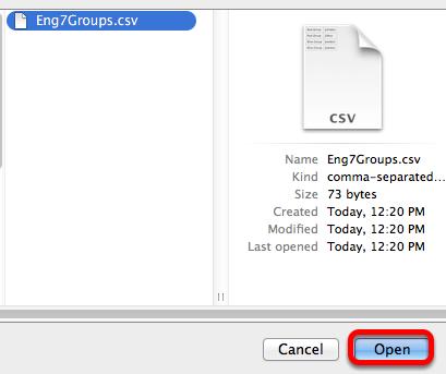 Locate the .csv file, select it, click Open