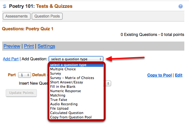 "Use the ""Select a question type"" dropdown box to select a question type."