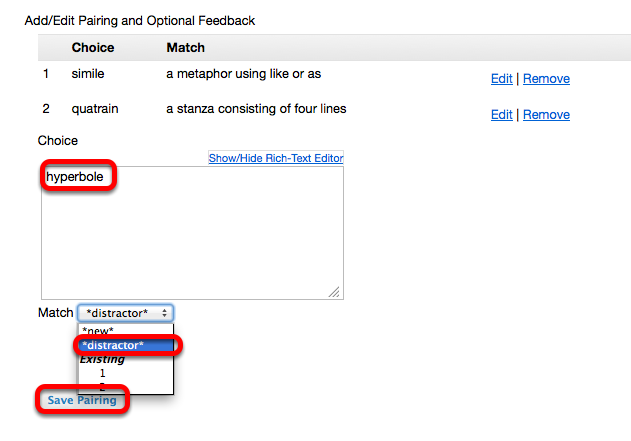 "(Example): - Adding a ""distractor"" match (students must select ""none of the above"")"