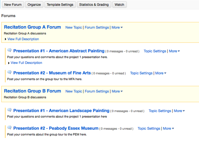 Example of multiple Group Forums with multiple Topics