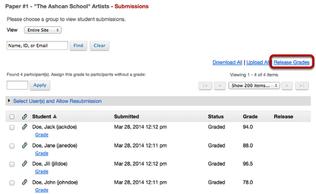 Click Release Grades.