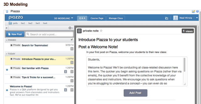 View Piazza discussion board.