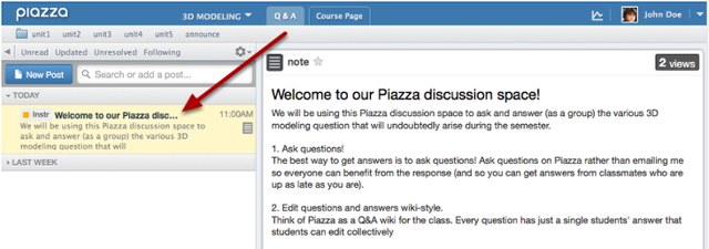Students can view Announcement on Q&A page: