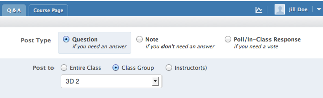 "When a student posts a new question, the ""Post To"" will have the option to post to the group(s) they have membership."