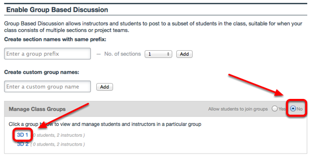 "To manually populate groups, select ""No"" to Allow students to join groups, then Click on the group name."