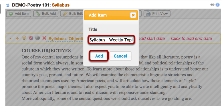 Enter a title for the second part o the Syllabus, then click Add