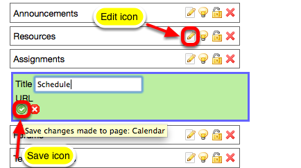 To Rename a tool button, click on the Edit icon for the tool, rename it, then click the Save Change icon