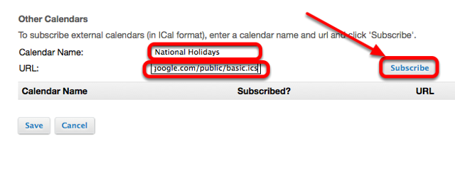 "Enter a Calendar name, paste the "".ics"" URL int the URL box, then click Subscribe."