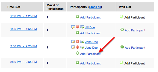 "Add multiple students to a time slot by re-clicking ""Add Participant""."