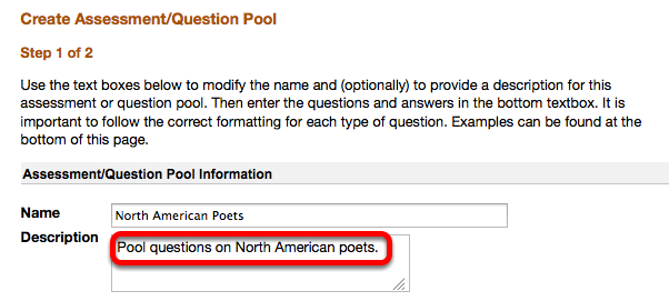Edit the Question Pool name and enter a description (Optional)