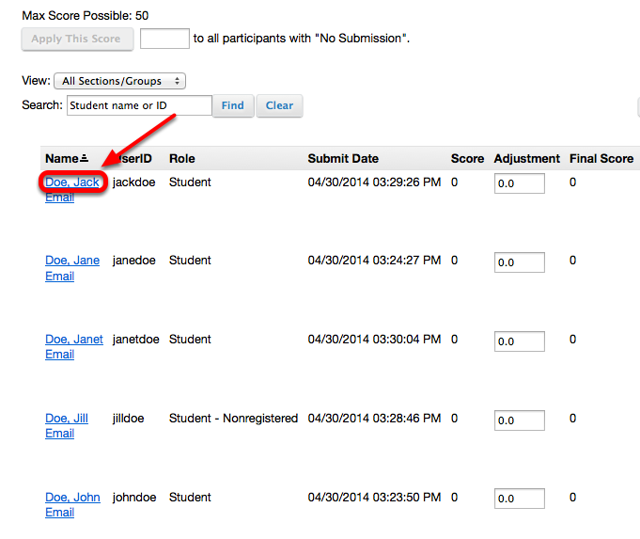 Method 1: (Download each submitted file individually and grade) - Click the name of the individual student.