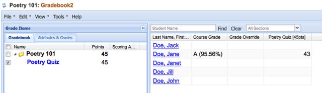 Example of Graded item in Gradebook2:
