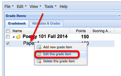 "To release the item grades and comments to students, right-click (CTRL-Click Mac) the grade item and select ""Edit this Item""."