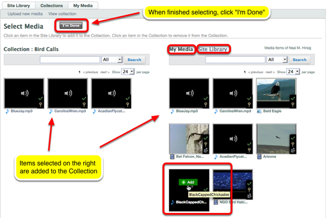 "Select Site Library or My Media, then select media (by clicking on the thumbnail) then click ""I'm Done""."