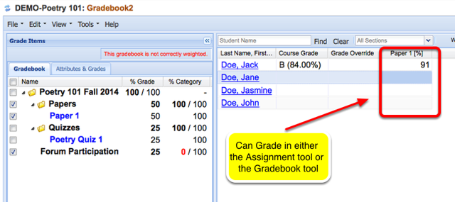Option 2 - Grading - Go to the Gradebook tool, checkmark the grade item so it is displayed in the right spreadsheet.