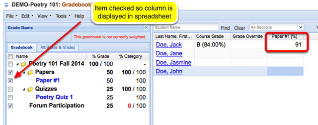 Option 1 - Grading - Example of grade displayed in Gradebook tool.