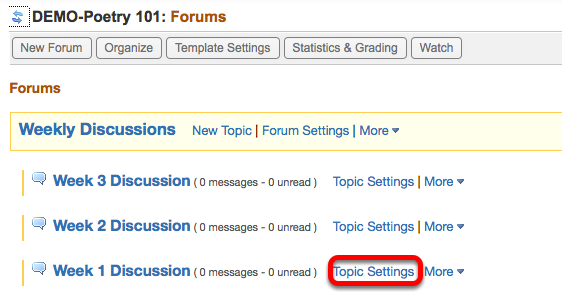 Option 2 - (Add individual Topics to Gradebook) - Click Topic Settings.