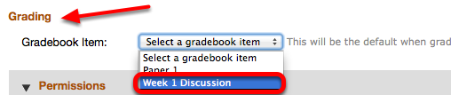 Option 2 - (Add individual Topics to Gradebook) - Under Grading, select the existing Gradebook item.