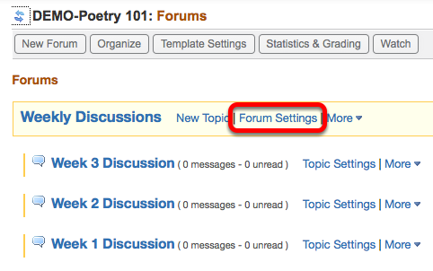 Option 1 - (Add Forum to Gradebook) - Click Forum Settings.