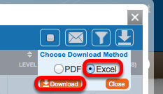 Select Excel, than click Download.