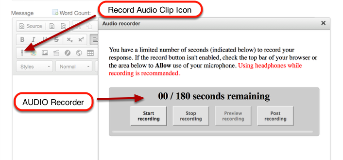 CKEditor - (Text Box) - Audio Recording Widget