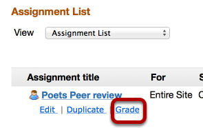 Grading: - After the Peer Review time period,  click Grade