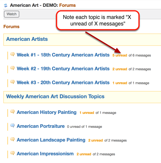 "Simply clicking on the title of a Forum or a Topic does not award any ""read"" notation in the statistics for a student."