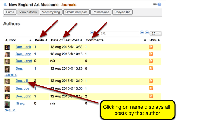 Example: Journals View Authors Page
