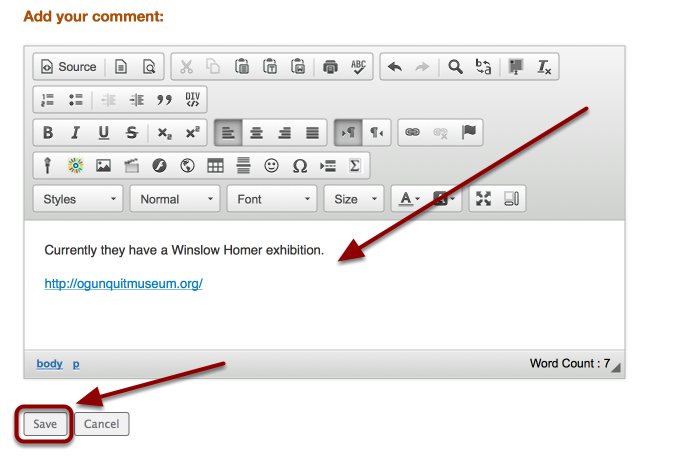 Fill out the comment form, then click Save