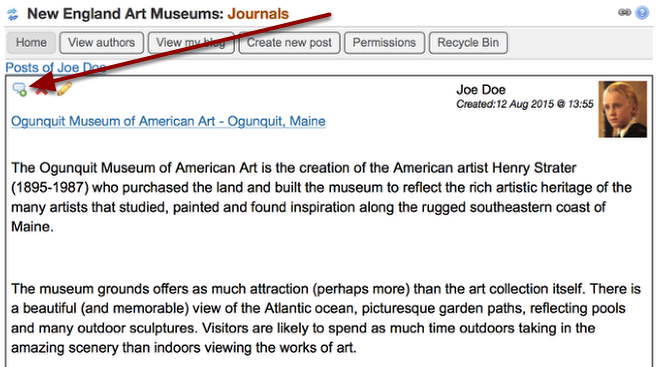 If viewing the journal entry, there will be a comment icon in the upper left if the entry allows comments