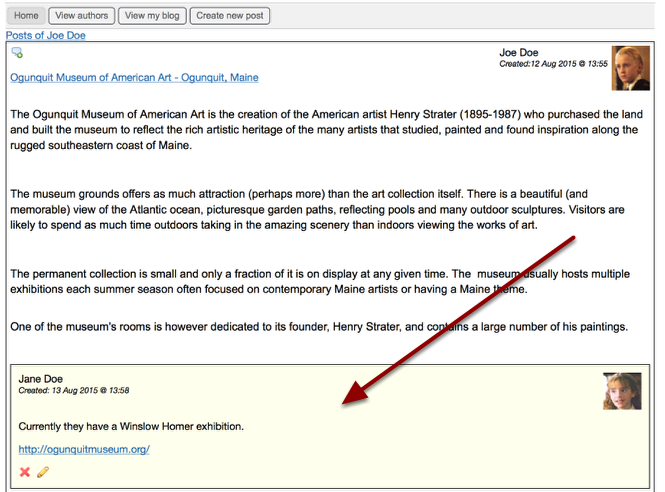 The comment is added to the journal entry - Example