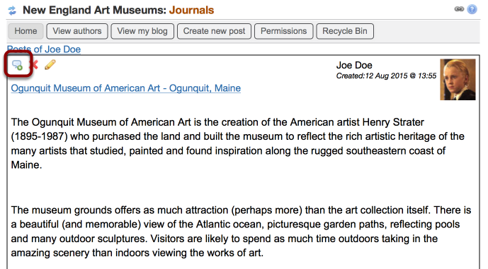Click on the Comment Icon (on either the list view or the entry view)