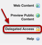 Log into Trunk and on your Workspace site click Delegated Access