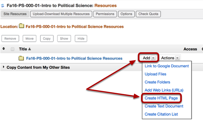 To the right of the root resources folder, click ADD / Create HTML Page