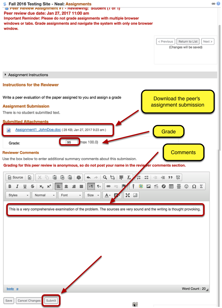 (Part 2) - Read the peer's submitted document, enter a grade and comments, then click Submit