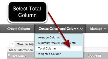 Step 1- Select Total Column