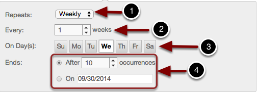 Image of the repeat scheduler with the following annotations: 1.Repeats: Select the desired schedule to repeat the event (daily, weekly, or monthly).2.Every: Select the number of weeks, days, or months to repeat the the event.3.On Days: Select which days the event will be repeated.4.Ends: Select either how many occurrences the repeat schedule should end, or the last day for the event to occur.