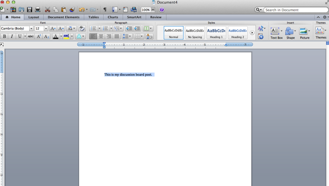 Word document open with words highlighted