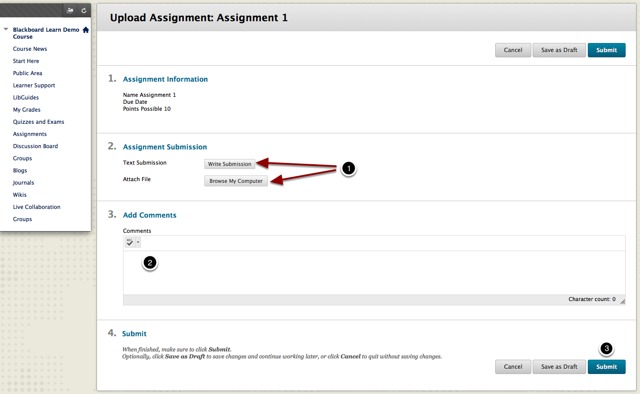The button to upload assignments is marked along with the box where students can enter comments