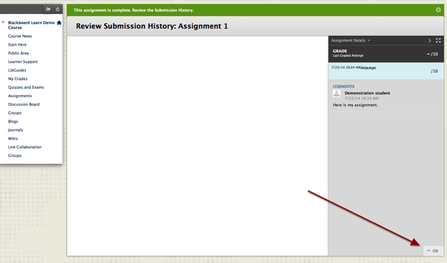 Verify submission screen appears